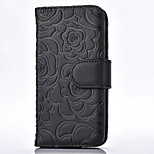 Roses Embossing Cell Phone Case Cover For Iphone 5/5S/SE Stand Leather Wallet With Card Slot