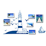 European Style Blue Sailboat Sea Gull Photo Stickers DIY Fashion Art Wall Decals