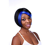 Europe And The United States The New Black Polyester Dyed Blue Wigs 6 Inch Personality