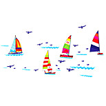Waterproof PVC Bathroom Colorful Sailing Sailboat Wall Stickers Removable DIY Living Room Wall Decals