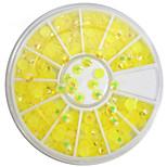 1pcs 4mm Round Bowl Nail Art Lemon Yellow Flat Rhinestones Nail Art DIY Decoration NC307