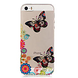 TPU Butterfly Pattern Transparent Soft Back Case for iPhone SE 5s 5