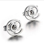 Men's Fashion Symbol @ Silver Alloy French Shirt Cufflinks (1-Pair)