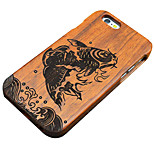 Pear Wooden Leaping Fish Carved Protective Back Cover Hard iPhone Case for iPhone 6S Plus/iPhone 6 Plus/iPhone 6s/6