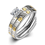 New Fashion Unisex's Gold-Silver Small Circles White Zircon Gold-Plated Titanium Steel Set Rings(Gold-Silver)(1Set)