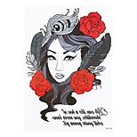8PCS Sexy Skull Belle Girl Flower Arm Sleeve Waterproof Tattoo Women Men Body Art Temporary Tattoo Sticker Design