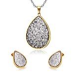 Women's Rhinestone Drop Style Gold Plated Necklace Earrings Jewelry Set