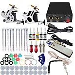 Professional Complete 2  Tattoo Machine Kit 5PCS Ink Power Supply Needle Grips Tips