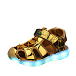 Girls' Shoes Dress / Casual Comfort Leatherette Sandals / Flats / Slip-on Blue / Pink / Silver / Gold / LED Shoes
