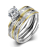 New Fashion Ripple White Zircon Gold-Plated Titanium Steel Statement Rings(Silver)(1Set)