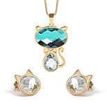 Women's Cute Cat Style Gold Alloy Necklace Earrings Jewelry Set