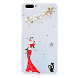 Rhinestone Hard Back Cover for Huawei Honor 6Plus(white woman)