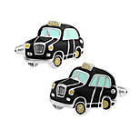 Men's Fashion Black Taxi Alloy French Shirt Cufflinks (1-Pair)