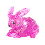 ABS 3D DIY Rabbit Crystal Puzzle Animal Educational Toys For Kids Or Adults Clear/Pink