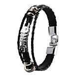de haute qualité pu super cuir brillant zinc multi-couche bracelet'S alliage os de poisson squelette hommes