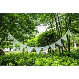Pretty Romantic 17*17CM White Lace Garlands Fabric Bunting Banner Wedding Event Party Decoration