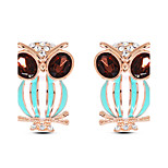European Style Fashion Unique Wild Owl Metal Shiny Rhinestone Stud Earrings