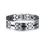 Men's Jewelry Health Care Print Silver Stainless Steel Hematite Bracelet