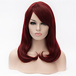 The New  Wig  Wine Red Partial Share Button in 16 Inch Long Hair Wigs