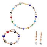 Women's Fashion Colorful Acrylic Gold Alloy Necklace Bracelet Earrings Jewelry Set