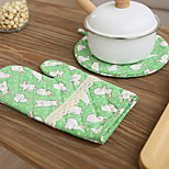 Cotton Kitchen Cooking with Rabbit Style Microwave Oven Gloves Mitts 1pc Pad and 1pc Glove