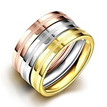 lureme® Vintage Classic Tricolor Stainless Steel with Matte Brushed in Middle Womens Girls Rings 3 Pcs A Set