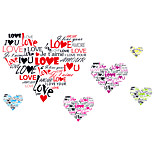 Romance 6 English LOVE Heart Combination Wall Stickers DIY Wedding Bedroom Wall Decals