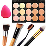 1PCS 15 Colors Professional Natural Contour Face Cream/Facial Concealer Makeup Palette+1 Contour Brush+1 Powder Puff