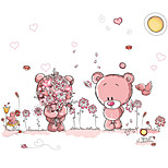 Kids Bedroom Pink Bear Garden Wall Decals Removable DIY Kindergarten Wall Art Cartoon Wall Stickers