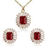 Women's Oval Cubic Zirconia Necklace Earrings Jewelry Set