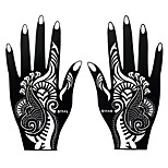 2pcs Black Henna Indian Tattoo Airbrush Stencil Temporary Hand Art Flower Pattern Paste Paper Sticker S114