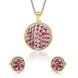 Women's Rhinestone Round Style Gold Necklace Earrings Jewelry Set