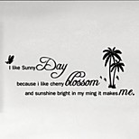 New Fashion Diy Home Decor 58*29Cm Medium Pvc I Like Sunny Day Letters One Piece Wall Sticker