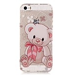 TPU High Purity Translucent Openwork Bear Pattern Soft Phone Case for iPhone 5/5S/ SE