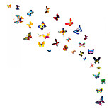 Creative DIY 60 PCS Colorful Butterfly Wall Stickers Leisure Room/Notebook/Cup/Glass Wall Decals PVC Wall Art