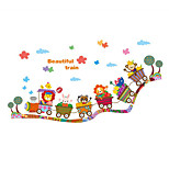 Wall Stickers Wall Decals, Cute Cartoon Animal Beautiful Train PVC Wall Sticker