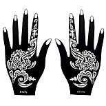 2pcs Henna Airbrush Stencil Nontoxic Temporary Printing for Women Hand Art Tattoo Sticker S107