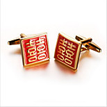 Men's Fashion Red Luck Gold Alloy French Shirt Cufflinks (1-Pair)