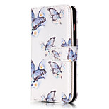 PU Leather Embossed Blue Butterfly Wallet Case with 9 Card Slots for iPhone 6s 6 Plus