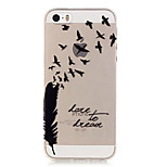 TPU Bird and Feather Pattern Transparent Soft Back Case for iPhone SE 5s 5