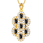 Unique Zirconia Bridal Necklace Pendant 18K Gold Plated Luxury Austrian Crystal Fashion Jewelry Women Gift P30110