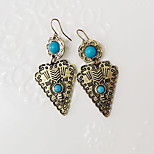 Women European Style Fashion Ethnic Turquoise Geometric Pendant Drop Earrings