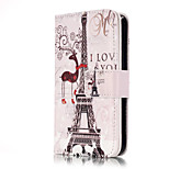 PU Leather Embossed Eiffel Tower Wallet Case with 9 Card Slots for iPhone SE 5s 5