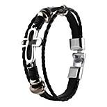 multi-couche bracelet de haute qualité pu super cuir brillant alliage de zinc curcifix croisées hommes