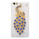 Rhinestone Back Cover for Huawei Honor 4C(white - Blue Peacock)