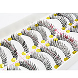 10Pair Eyelashes  Full Strip Lashes Eyes / Eyelash Crisscross / Thick Extended / Handmade Fiber Black Band 0.10mm 11mm