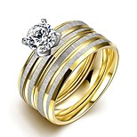 New Individual Parallel Silver Stripes White Zircon Gold-Plated Titanium Steel Statement Rings(Gold-Silver)(1Set)