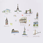 Travel Ten Buildings Landscape Wall Art Wall Stickers Removable DIY Bedroom Living Room Wall Decals