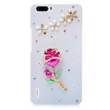 Rhinestone Hard Back Cover for Huawei Honor 6Plus(white - Red Rose)