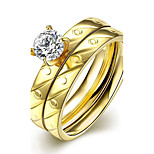 New Fashion Small Circles Oblique Stripes White Zircon Gold-Plated Titanium Steel Statement Rings(Golden)(1Set)
